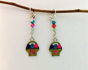 Easter egg earrings, Easter jewelry, Easter basket, basket filler, spring wardrobe, colorful jewelry, Easter outfit, JeriAielloartstore, USA