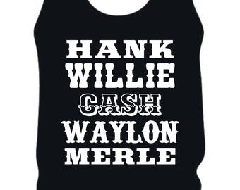 vintage country tank/country legends shirt/outlaw country shirt/country music shirt/concert shirt