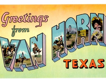 Greetings from Van Horn Texas Vintage Postcard