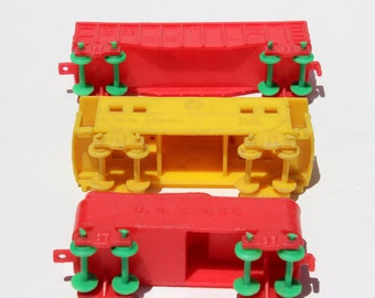 Vintage Plastic Toy Train US Lines Burlington Route Caboose Rail Car Railroad Kids Toy Childrens Toy
