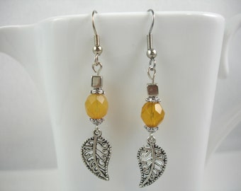 Earrings with silver leaf and yellow crystal, leaf earring with yellow bead