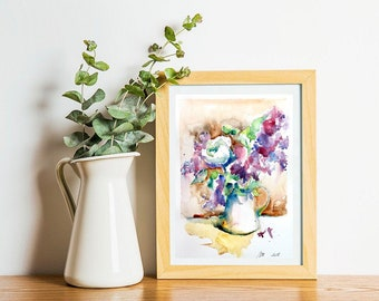 Watercolor original painting - Bouquet of LILACS (watercolor still life vase Pink Purple lilacs original spring gift)
