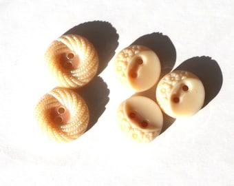 Set of 5 cute little buttons 18 mm in diameter by 11mm beige glass.