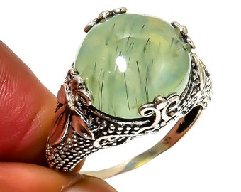 Natural Prehnite Round Gemstone Ring 925 Sterling Silver R1048