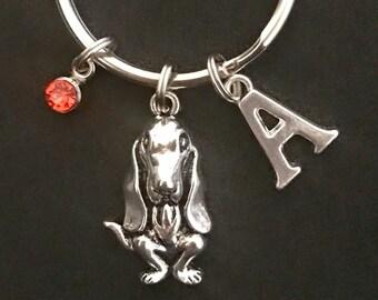 Personalized Basset Hound Keychain