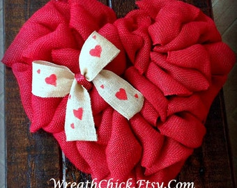 Heart wreath, burlap wreath, Valentines day wreath, Valentine wreath, red wreath, winter wreath, Valentine door wreath, Spring wreath