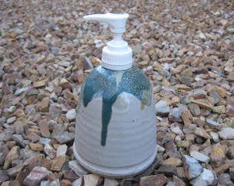 Stoneware Soap/Hand Lotion Pump in Witewash with an array of multi colors, Weighted Soap/Lotion Pump,  Stoneware Pottery Soap Dispencer