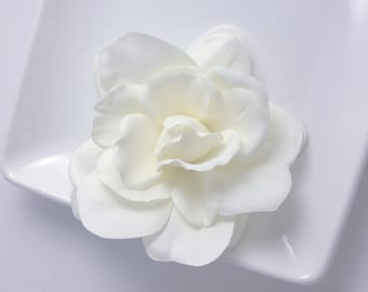 Real Touch Light Ivory Cream Silk Gardenia Bridal Hair Flower Clip and Pin Faux Floral Accessory , Bridal Sash or Belt