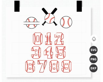 Baseball monogram and numbers SVG, PNG, DXF Files for your Cricut, Silhouette,  Scrapbook, Clipart, Printable, Stencil, Vector, Cutting.