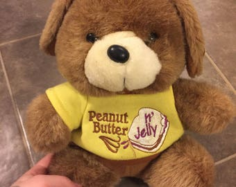 Vintage peanut butter and jelly dog plush