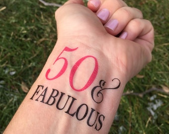 50 and Fabulous, Temporary Tattoo, Fabulous Tattoo, 50th Birthday, 50th Birthday Party Favor, 50th Birthday Favor, 50th Birthday Gift, Pink