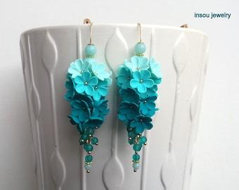 Statement Earrings, Ombre Earrings, Dangle Earrings, Flower Earrings, Elegant Earrings, Women Gift, Spring Earrings, Menta Emerald Earrings