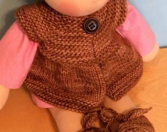 Sweater for 16-inch Waldorf Doll  Hand Knit Cardigan Sweater for Waldorf Dolls  **Applewood**
