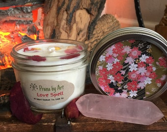 Love Spell, Scented candle, soy candle, Organic soy, Handmade, Strong Scent, Cotton Wick, Vegan friendly