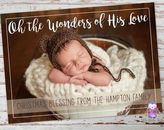 Oh The Wonders Of His Love Christmas Card   Religious Christmas Card   Christian Christmas Card   Photo Christmas Card   Printable Card