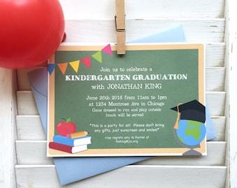 Graduation party invitation, teacher retirement party, kindergarten graduation, end of school party, children's graduation party, set of 15