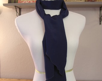 Long  Scarf - Navy Blue Scarf - Silky Satin Peachskin - Navy Blue Peachskin - Dressy Scarf
