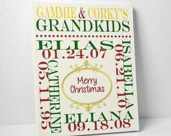 CHRISTMAS GIFT for GRANDPARENTS, Grandparents Christmas Gift, Grandparents Wall Print, Personalized Christmas Gift for Grandparents