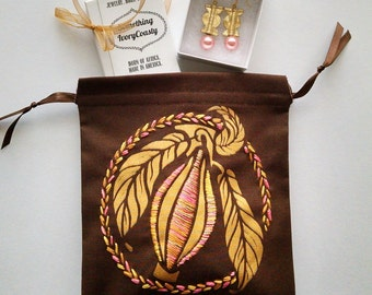 Embroidered Gold and Pink Cacao Drawstring Bag