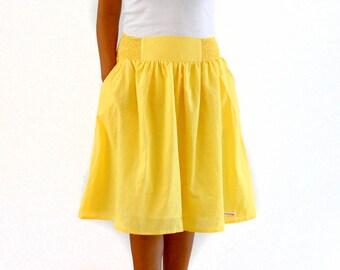Midi Skirt in Sunshine Yellow, Bridesmaid Skirt, Spring / Summer Skirt