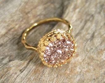 Druzy Ring, Rose Gold Druzy Ring, Gold Druzy Ring, Round Druzy Ring, Drusy Ring, Gemstone Ring, 18K Gold Vermeil Crown Setting