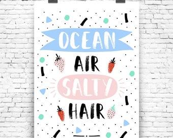 Digital poster ocean air salty hair wall art