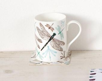 Dragonfly Mug / Dragonfly Pattern / Coffee Mug / Damselfly Illustration / Dragonfly Art