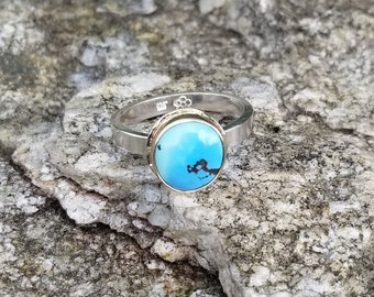 Kazahkstan lavender turquoise 14k solid yellow gold 925 sterling silver ring