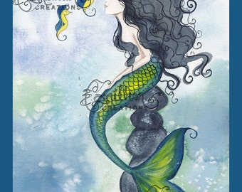 Three Yellow and Blue Seahorses Mermaid Print from Original Watercolor Painting by Camille Grimshaw