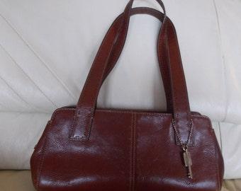 Vintage~Genuine~Leather~FOSSIL~Purse~Handbag~Shoulder~Top Handle Bag~Nice~Rich Brown~Fossil Key Charm