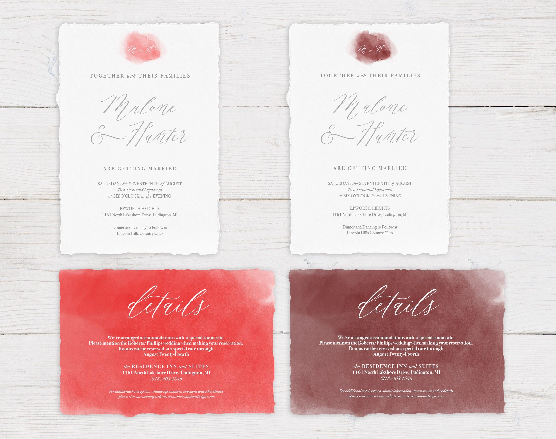 WC001 Watercolor Wedding Invitation Suite