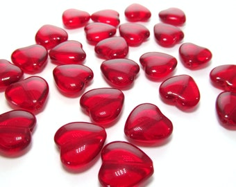 Large Ruby Red Czech Glass Hearts, 16mm - 12 pieces