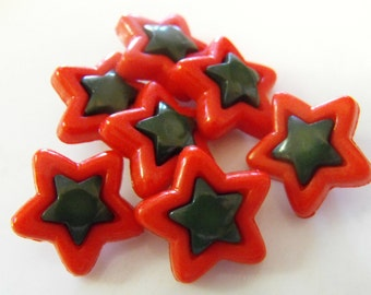 9 Red and Green Star Shank Buttons Size 3/4""