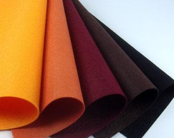 5 Colors Felt Set - Afternoon Sun - 20cm x 20cm per sheet