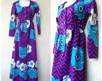 1970s HAWAIIAN Maxi DRESS. Mod Hawaiian Dress. Empire Waist. Hawaiian Maxidress. Resort Wear. Pychedelic Hawaiian Dress. Holo Holo Dress. M