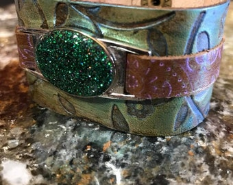 Green and Brown Leather Bracelet