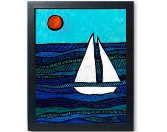 Sailboat Art Print - Nautical Decor - Beach or Lake House Wall Decor - Lakeside or Coastal Artwork - Inspired by the Chesapeake Bay
