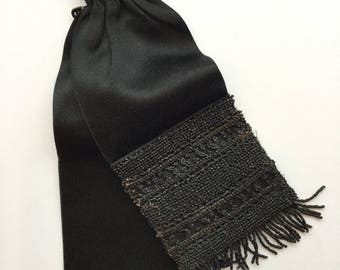 Miser  purse | Vintage black satin mourning pouch | 1920s black beaded miser coin purse