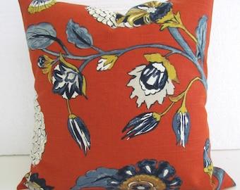 ORANGE PILLOWS Orange Throw Pillows Blue Pillows Navy Blue Throw Pillow Covers Copper Gold Grey Floral 16 18 20x20 All Sizes Home Decor
