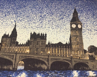Nighttime over the River Thames tea towel