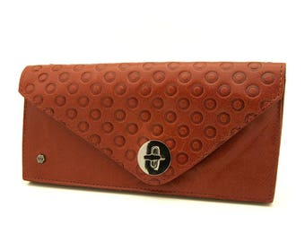 Pink full-length wallet | Coral pink leather wallet | Expandable wallet - Free Shipping