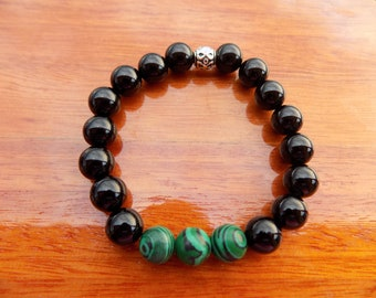 Black Onyx and Malachite Gemstone Bracelet