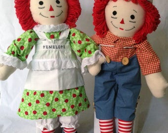 "25"" Raggedy Ann Doll OR Raggedy Andy Doll - Handmade, Made to Order, Free Personalization, 120+ outfit fabrics to choose from!"
