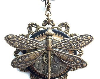Steampunk Dragonfly Necklace - Dragonfly Clock Pendant- Unique Steampunk Pendant -  Unique Steampunk Jewelry - Original Limited Edition