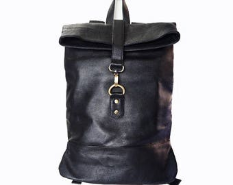 Small Black Leather Backpack, Rucksack