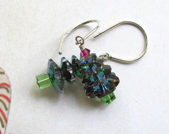 Christmas Tree Earrings, Holiday Earrings, Christmas Earrings, Swarovski Earrings, Dangle Earrings, Green Earrings, Christmas Jewelry