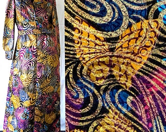 Gold Lame Dress Psychedelic Metallic Sequin Butterflies 70s Party Evening Gown
