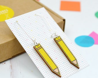 Pencil Earrings - stationery jewellery - stationery earrings - colourful jewelry - thank you teacher gift - school teacher gift