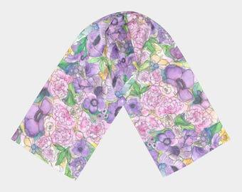 Peony & Poppy Floral Long Scarf
