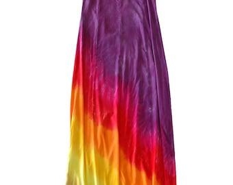 Tie Dye Long Hippie Maxi Dress in Sunrise or Sunset